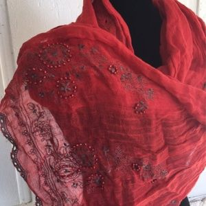 🆕Coldwater Creek linen beaded & embroidered scarf